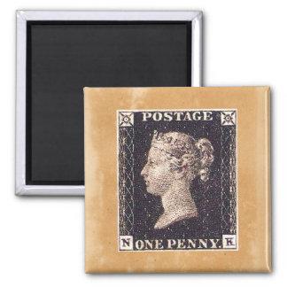 Penny Black Postage Stamp Square Magnet