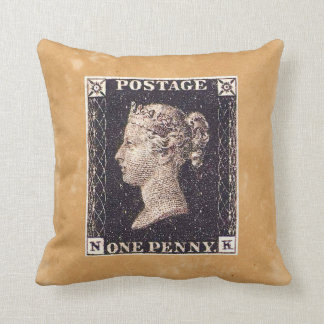 Penny Black Postage Stamp Throw Pillow