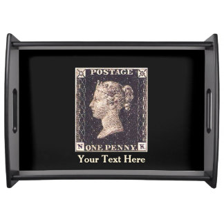 Penny Black Postage Stamp Serving Trays