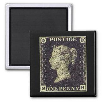 Penny Black Stamp Square Magnet