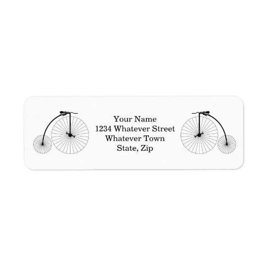 Penny Farthing Bicycle Return Address Label