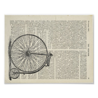 Penny Farthing Book Page Art Poster