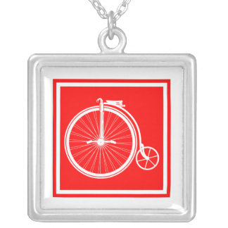 Penny Farthing High Wheeler Silver Plated Necklace