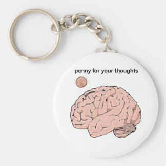 Penny  for your Thoughts Basic Round Button Key Ring