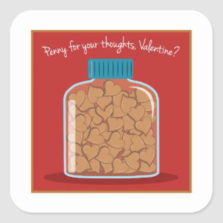 Penny For Your Thoughts Square Sticker