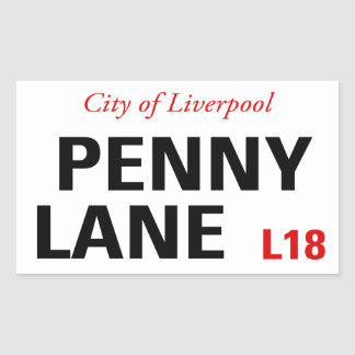 Penny Lane Sign (pack of 4) Rectangular Sticker