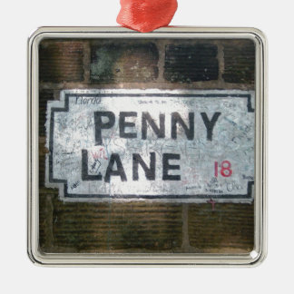 Penny Lane Street Sign, Liverpool UK Silver-Colored Square Decoration
