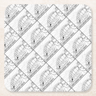 Pennybacker Bridge Line Art Design Square Paper Coaster