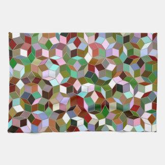 Penrose Tiling Kitchen Towel, Dark Neutral Colors Tea Towel