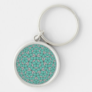 Penrose tiling pattern rounded, gray turquoise Silver-Colored round key ring