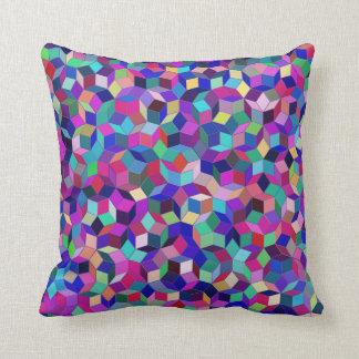 Penrose Tiling Throw Pillow (Blue/Magenta)