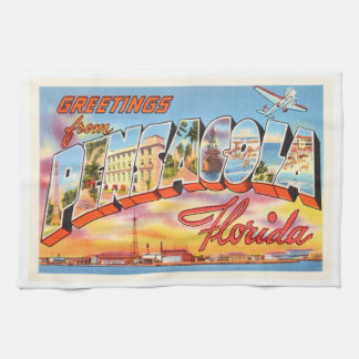 Pensacola Florida FL Old Vintage Travel Souvenir Towel