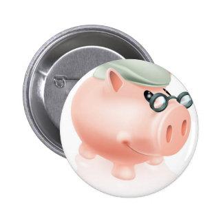 Pension savings piggy bank pinback button