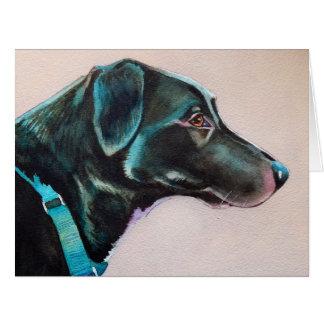 Pensive Black Dog Card