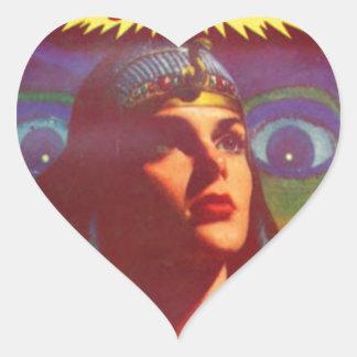 Pensive Egyptian Queen Heart Sticker