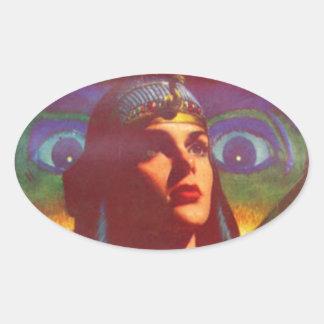 Pensive Egyptian Queen Oval Sticker