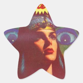 Pensive Egyptian Queen Star Sticker