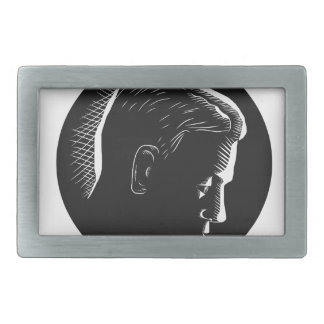 Pensive Man in Deep Thought Circle Woodcut Belt Buckle