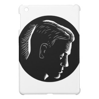 Pensive Man in Deep Thought Circle Woodcut Case For The iPad Mini