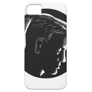 Pensive Man in Deep Thought Circle Woodcut iPhone 5 Cover