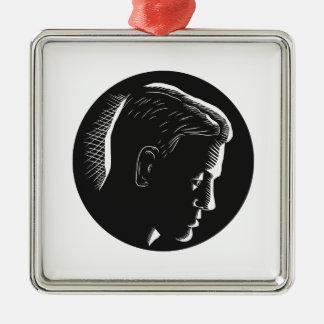 Pensive Man in Deep Thought Circle Woodcut Metal Ornament