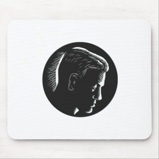 Pensive Man in Deep Thought Circle Woodcut Mouse Pad