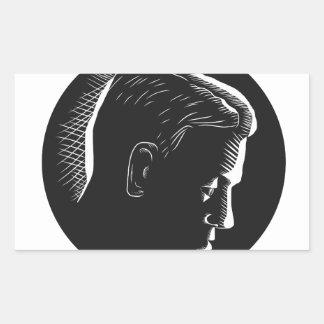 Pensive Man in Deep Thought Circle Woodcut Rectangular Sticker