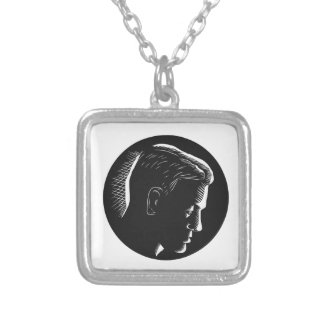 Pensive Man in Deep Thought Circle Woodcut Silver Plated Necklace