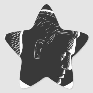 Pensive Man in Deep Thought Circle Woodcut Star Sticker