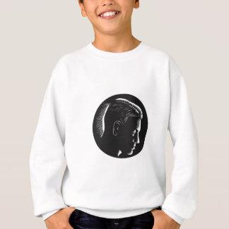Pensive Man in Deep Thought Circle Woodcut Sweatshirt