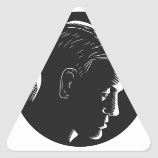 Pensive Man in Deep Thought Circle Woodcut Triangle Sticker