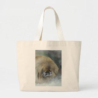 Pensive Pekingese Large Tote Bag