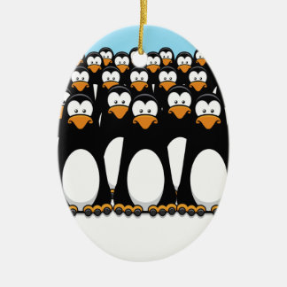 Pensive Penguin Army Ceramic Oval Decoration