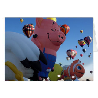 Pensive Pig Hot Air Balloon Card