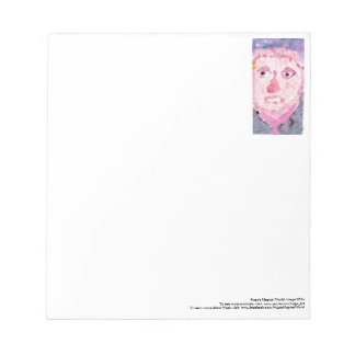 Pensive pink and purple person notepad