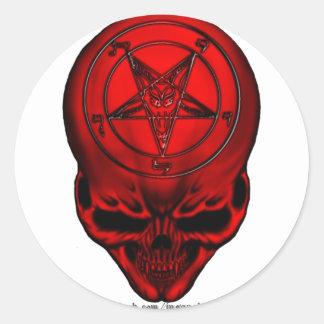 penta skull round sticker