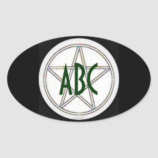 Pentacle Black White and Gray Oval Sticker