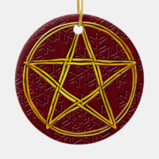 Pentacle Double Woven Wicker & Red Snowflakes Ceramic Ornament