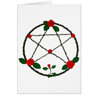 Pentacle of Vines and Red Roses Card