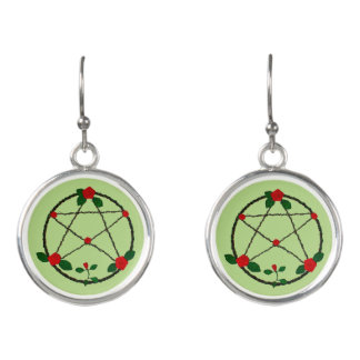 Pentacle of Vines and Red Roses Earrings