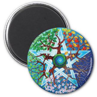 pentacle-seasons 6 cm round magnet