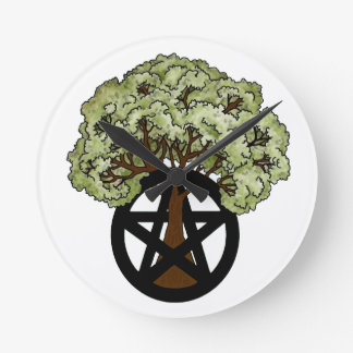 Pentacle Tree Round Clock