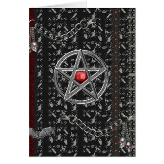 Pentacles and witches Halloween Card