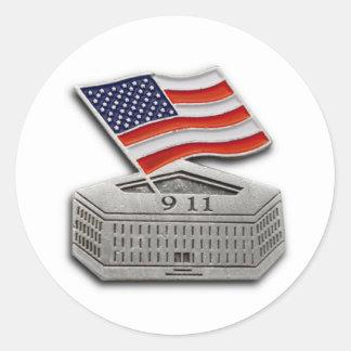 PENTAGON US FLAG 9-11 CLASSIC ROUND STICKER