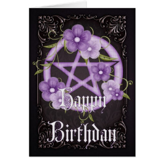 Pentagram 4 Wicca Happy Birthday Greeting Card