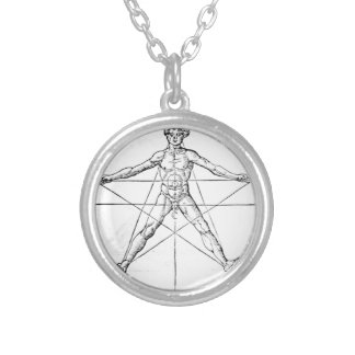 Pentagram_and_human_body_(Agrippa) Silver Plated Necklace