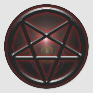 Pentagram Black/Red Shine Classic Round Sticker