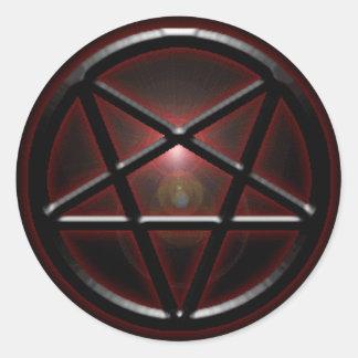 Pentagram Black/Red Shine Round Sticker