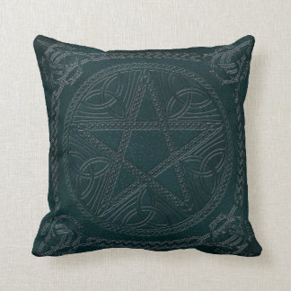Pentagram Embossed On Leather Look 2-Throw Pillow Throw Cushion