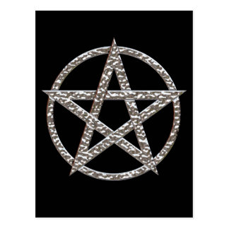 Pentagram Hammered Chrome Postcard